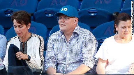 Prime Minister of Australia Scott Morrison watches day seven of the 2019 Australian Open at Melbourne Park on January 20.