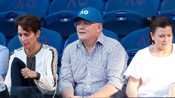 Prime Minister of Australia Scott Morrison watches the 2019 Australian Open at Melbourne Park on January 20.