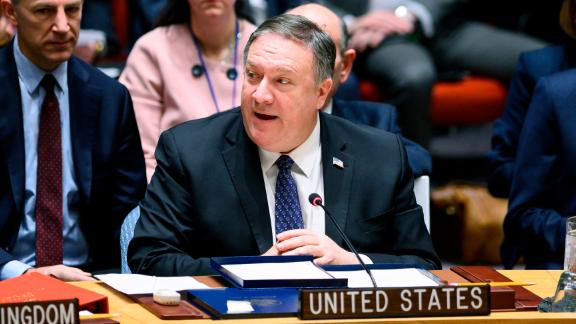 US Secretary of State Mike Pompeo addresses a UN Security Council meeting Saturday on Venezuela.