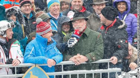 Arnold Schwarzenegger absorbs the atmosphere in K itzbuhel.