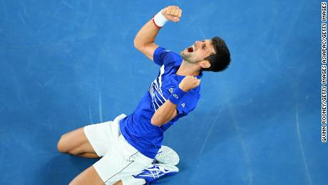 MELBOURNE, AUSTRALIA - JANUARY 27:  Novak Djokovic of Serbia celebrates after winning championship point in his Men's Singles Final match against Rafael Nadal of Spain during day 14 of the 2019 Australian Open at Melbourne Park on January 27, 2019 in Melbourne, Australia.  (Photo by Quinn Rooney/Getty Images)