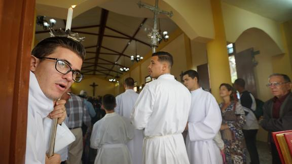 Mass begins at a new Catholic church in Western, Cuba, the first to be built in 60 years.