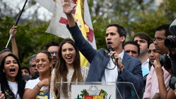 Juan Guaido speaks to opposition supporters in Caracas on Saturday.