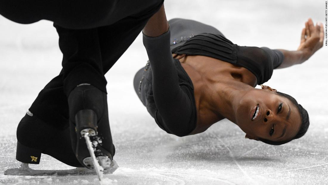 French figure skaters Vanessa James and Morgan Cipres perform at the European Championships on Thursday, January 24. They took home the gold.