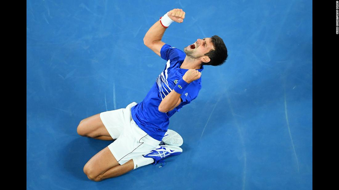 Novak Djokovic celebrates after defeating Rafael Nadal in straight sets to win his seventh Australian Open title on Sunday, January 27. No man has won more Australian Opens than Djokovic, who now has 15 major titles -- two behind Nadal and five behind Roger Federer.