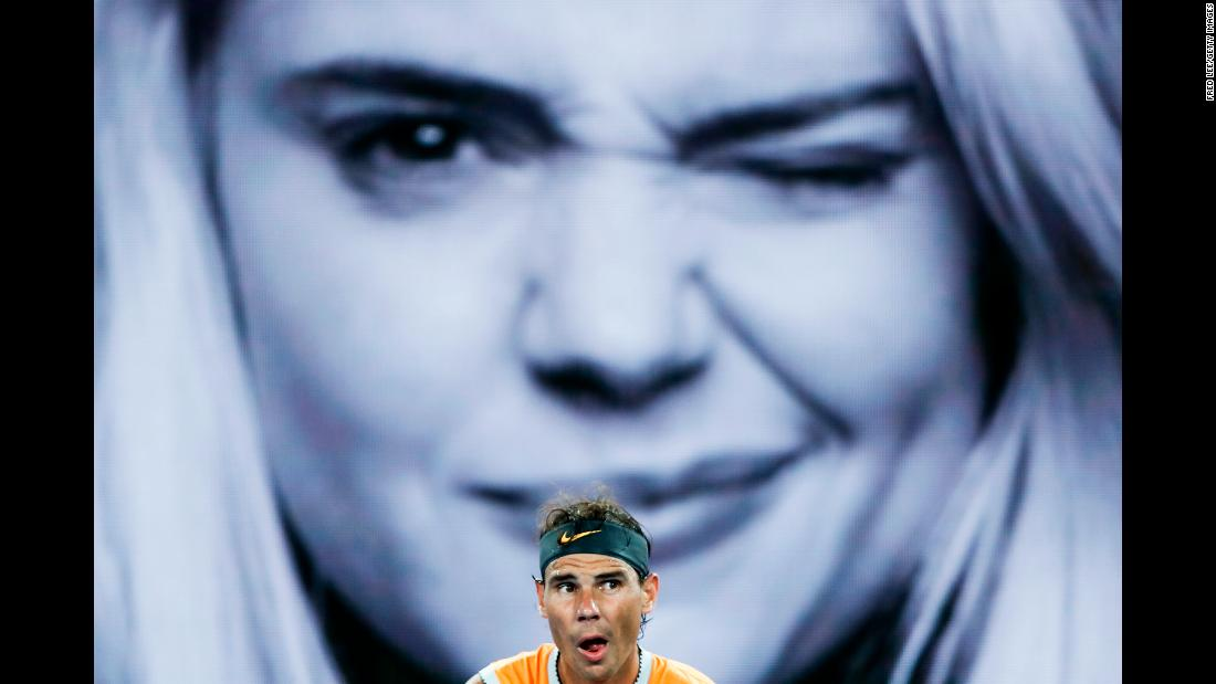 Rafael Nadal competes against Frances Tiafoe during the Australian Open quarterfinals on Tuesday, January 22.