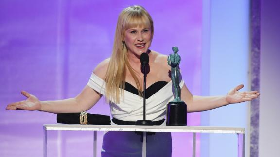 LOS ANGELES, CA - JANUARY 27:  Patricia Arquette accepts Outstanding Performance by a Female Actor in a Television Movie or Miniseries for ?Escape at Dannemora? onstage during the 25th Annual Screen ActorsGuild Awards at The Shrine Auditorium on January 27, 2019 in Los Angeles, California. 480493  (Photo by Kevin Winter/Getty Images for Turner)