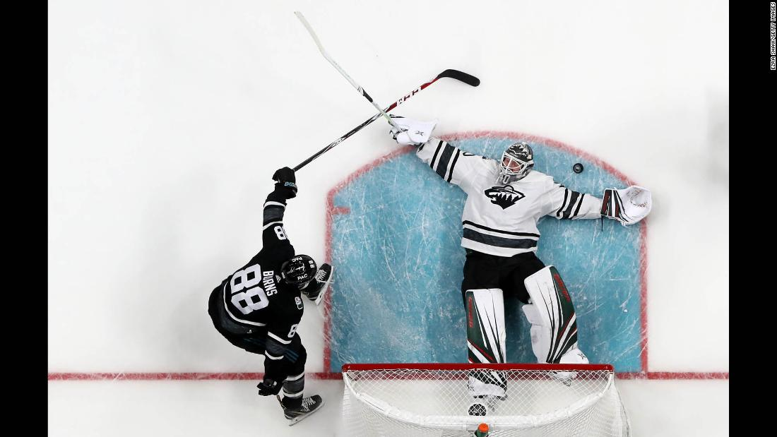 Minnesota goalie Devan Dubnyk sprawls out to make a save during the NHL All-Star Game on Saturday, January 26.