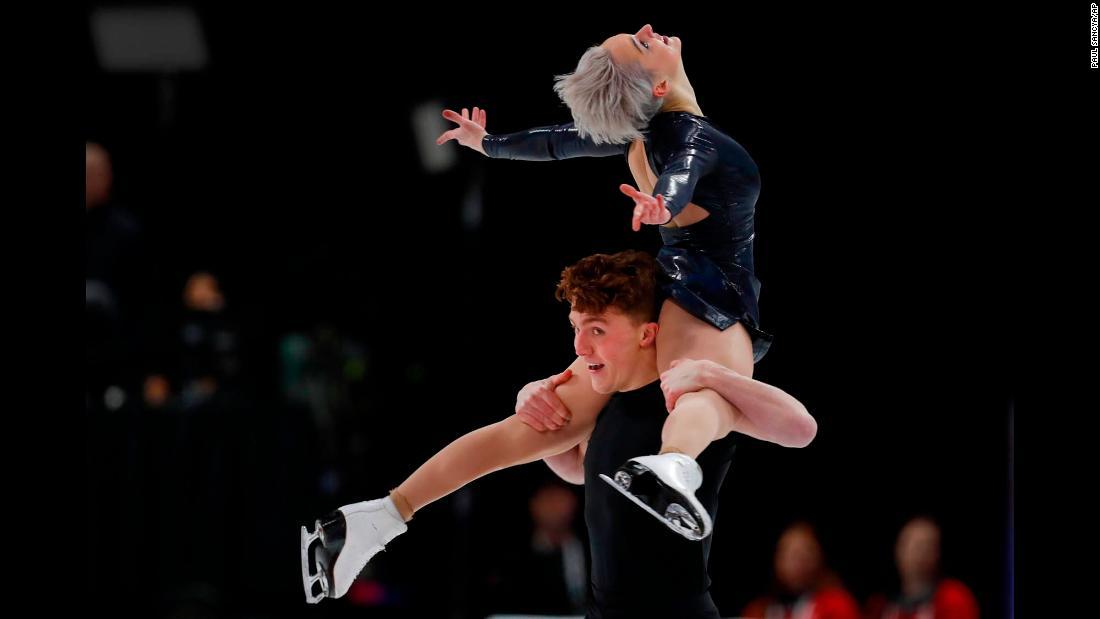 Karina Manta and Joseph Johnson perform their free-dance program at the US Figure Skating Championships on Saturday, January 26.