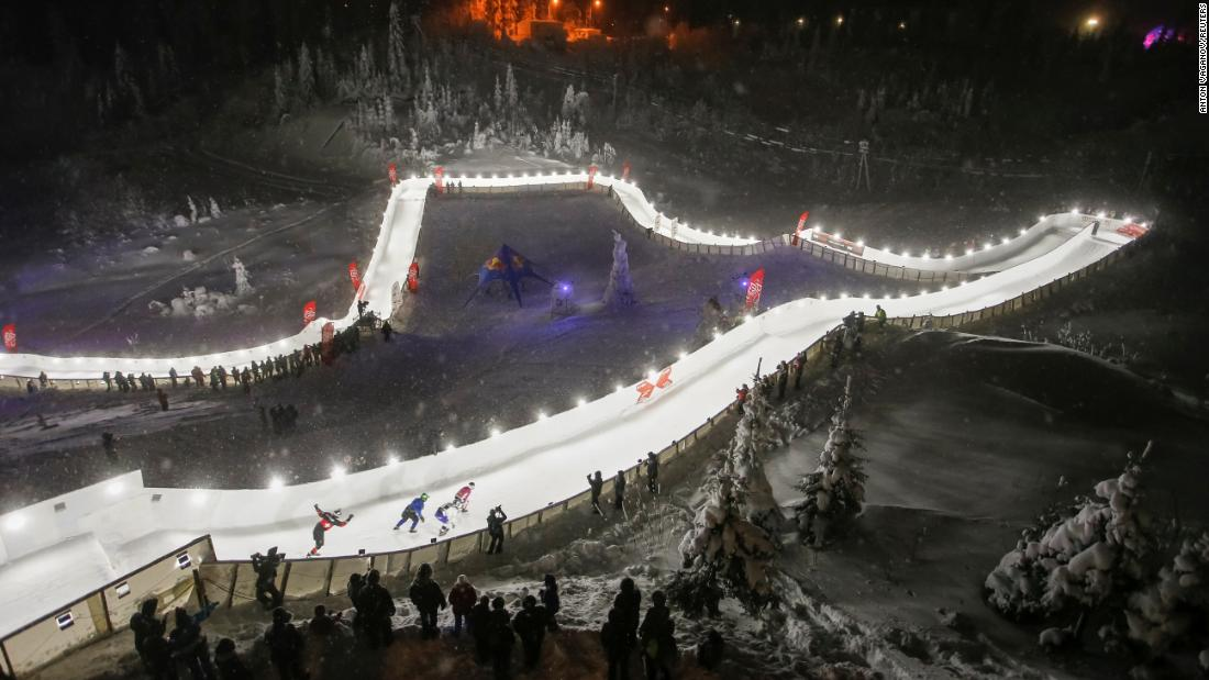 Skaters compete in a downhill ice-cross race in Igora, Russia, on Saturday, January 26.
