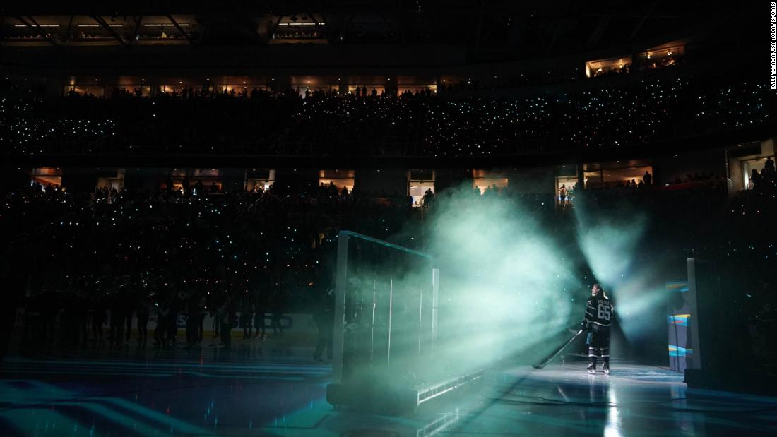San Jose defenseman Erik Karlsson is introduced to the home crowd before the NHL All-Star Game on Saturday, January 26. See 34 amazing sports photos from last week