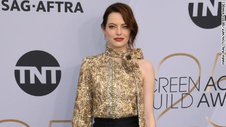 Nminee Emma Stone arrives for the 25th Annual Screen Actors Guild Awards at the Shrine Auditorium in LA, on January 27, 2019. (Photo by Mark RALSTON/AFP/Getty Images)