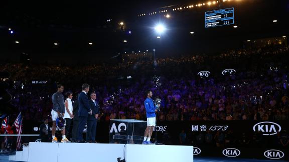All eyes were on Novak Djokovic during the trophy presentation at the Australian Open.