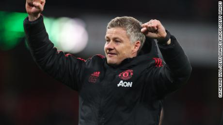 Manchester United's interim manager Ole Gunnar Solskjaer, celebrates after the FA Cup Fourth Round match between his team and Arsenal.