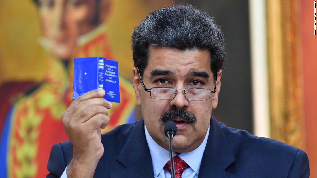 Maduro holds a news conference in Caracas on Friday, January 25. The Venezuelan strongman has accused Guaido and the United States of trying to orchestrate a coup against him.