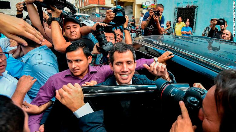 Guaidó leaves a church in Caracas on Sunday after attending a mass in honor of  political prisoners.