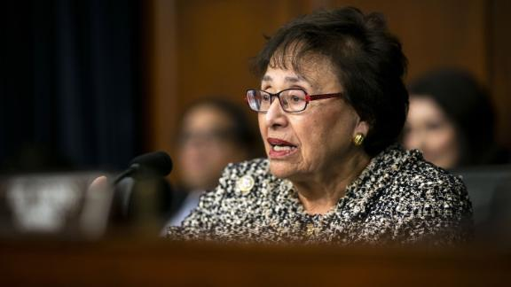 """Representative Nita Lowey, a Democrat from New York, questions Steven Mnuchin, U.S. Treasury secretary, not pictured, during a House appropriations subcommittee hearing on Capitol Hill in Washington, D.C., U.S., on Wednesday, April 11, 2018. Mnuchinsignaled on Wednesday the U.S. may impose """"very strong"""" sanctions on Iran as PresidentDonald Trump seeks to renegotiate a multinational accord that curbs the Islamic Republic's nuclear program. Photographer: Al Drago/Bloomberg via Getty Images"""