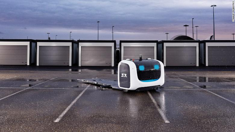 Stanley Robotics' valet robot can pick up a car and move it to a parking spot.