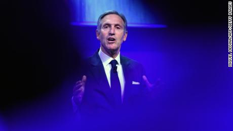 "Starbucks' Executive Chairman, Howard Schultz delivers a speech during the openning ceremony of the ""Seeds"