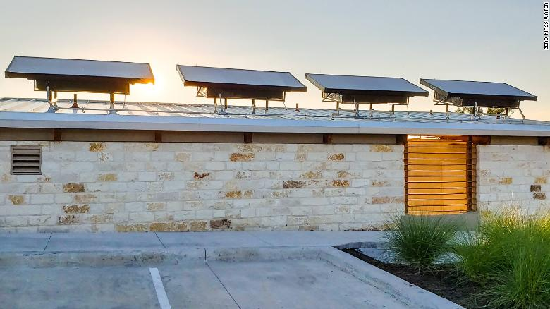 Zero Mass Water panels atop a building in a planned community in Austin, Texas.