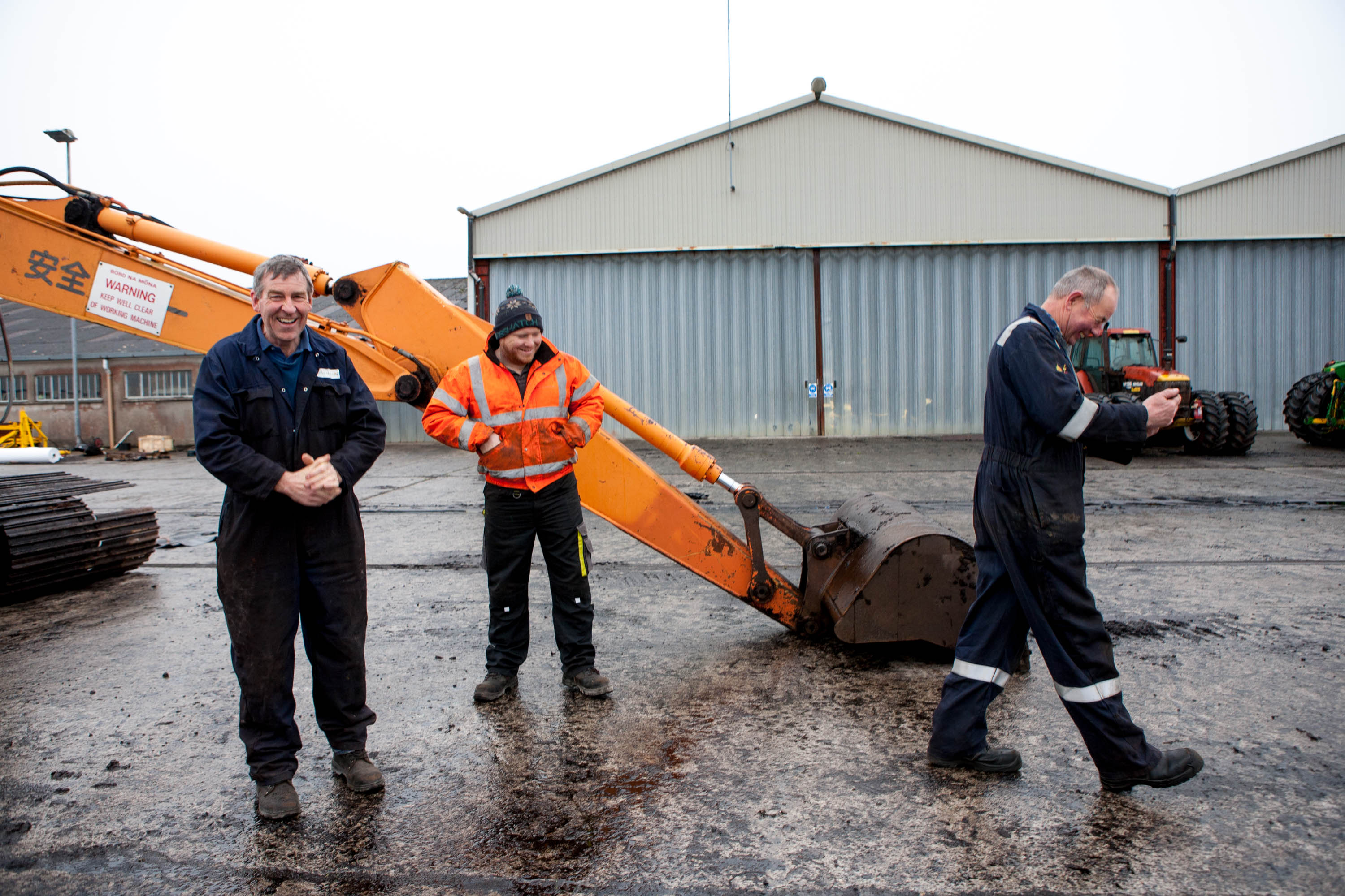 Derryfada workers Liam Burke (left), Robert Kenny and Pat Hurley have worked in the bog for 97 years, collectively.