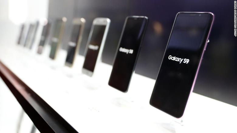 Multiple generations of the Samsung Galaxy phone displayed at a booth at CES 2019 in Las Vegas.