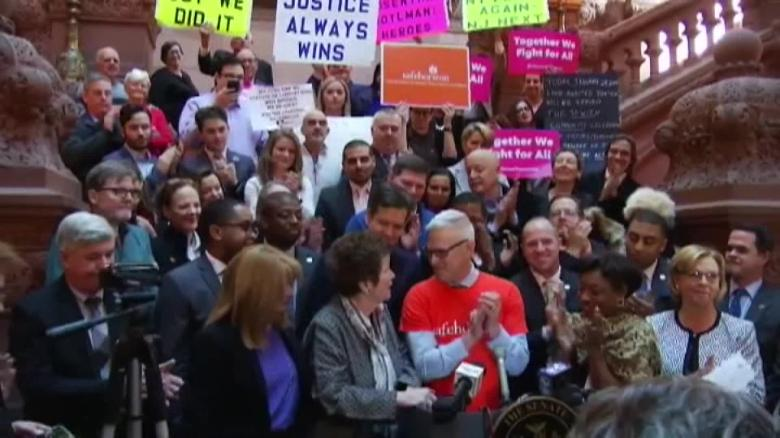 Survivors and supporters gathered at the New York State Capitol in January 2019 to celebrate the passage of the New York Child Victims Act.