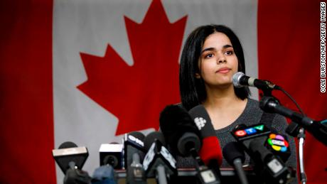 Rahaf Mohammed al 18-year-old Qunun Speaks to the Press at a Press Conference in Toronto