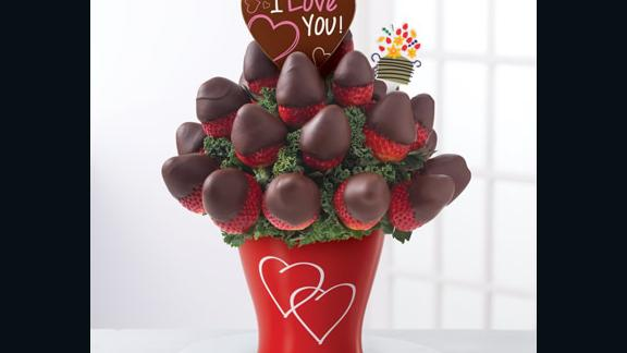 The I Love You Chocolate Dipped Strawberries Bouquet from Edible Arrangements.