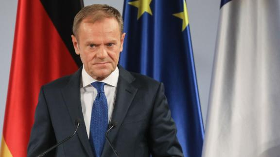 Donald Tusk, president of the European Council, speaks in Germany on January 22.