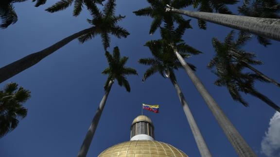 A view of the National Assembly building in Caracas on January 29.