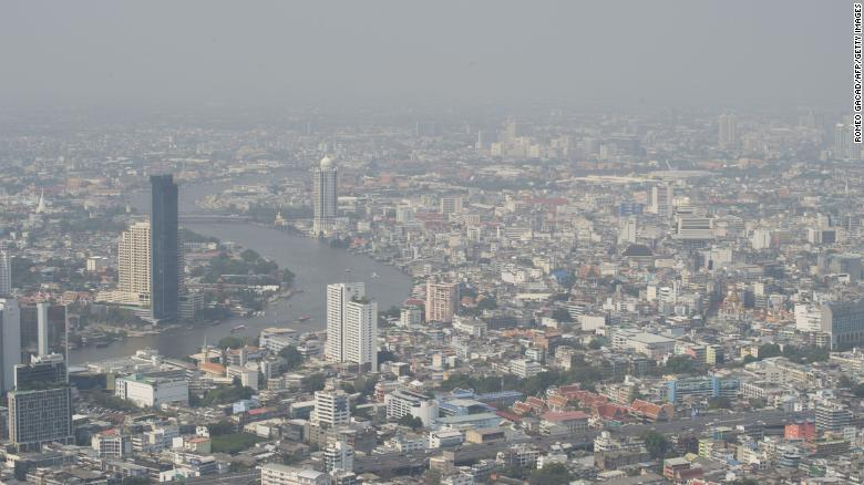 High-rise buildings along the Chao Phraya River in Bangkok on Monday.