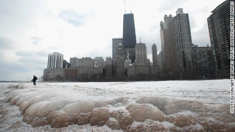 CHICAGO, IL - JANUARY 03:  Ice builds up along the shore of  Lake Michigan on January 3, 2018 in Chicago, Illinois. Record cold temperatures are gripping much of the U.S. and are being blamed on several deaths over the past week.
