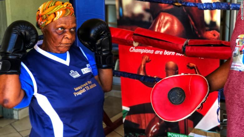 Constance Ngubane says she feels less like her 80 years and more like age 16 when she's boxing.