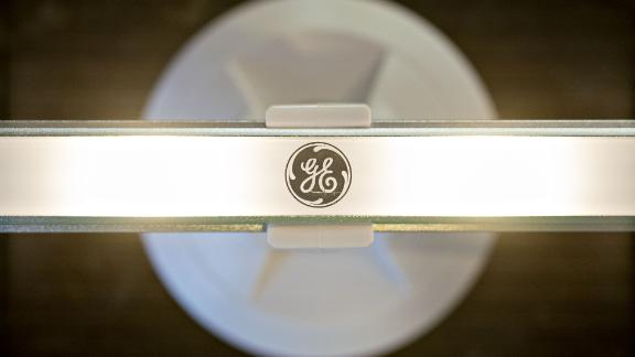 The General Electric Co. logo is displayed on a light-emitting diode (LED) light wand is arranged for a photograph in Tiskilwa, Illinois, U.S., on Monday, Oct. 29, 2018. General Electric Co. is scheduled to release earnings figures on October 30. Photographer: Daniel Acker/Bloomberg via Getty Images