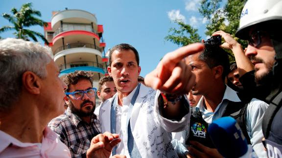 Guaido speaks to reporters in Caracas on January 30. The United States and more than a dozen other countries have recognized Guaido as Venezuela