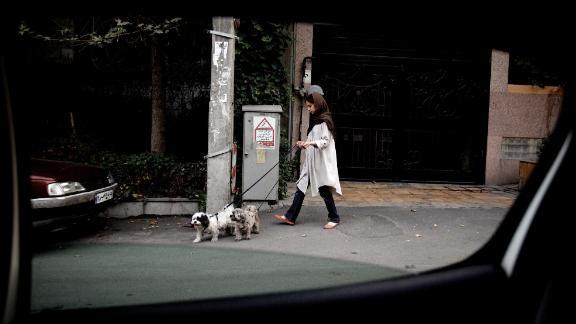 An Iranian woman walks her dogs in Tehran's wealthy Elahiyeh district in 2013.