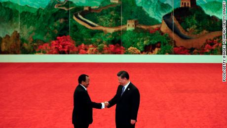 Cameroon President Paul Biya, left,  with Chinese President Xi Jinping at the Forum on China-Africa Cooperation in September 2018, in Beijing, China.