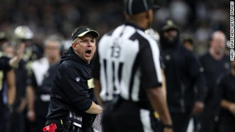 Saints head coach Sean Payton reacts after a no-call between Tommylee Lewis and Nickell Robey-Coleman during the fourth quarter in the NFC Championship game at the Mercedes-Benz Superdome on January 20 in New Orleans.