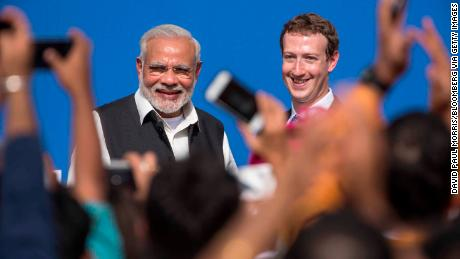 Facebook, whose CEO Mark Zuckerberg is seen here with Indian leader Narendra Modi, has found itself at the center of India's fake news debate.