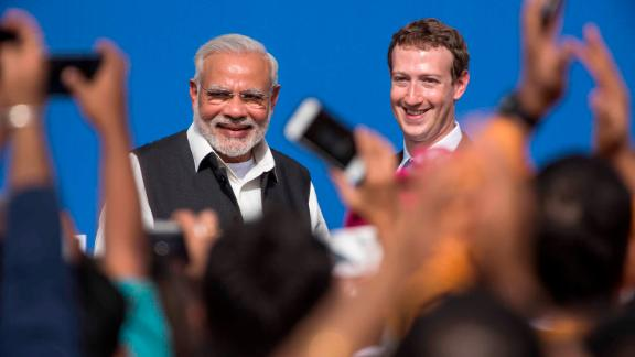 Facebook, whose CEO Mark Zuckerberg is seen here with Indian leader Narendra Modi, has found itself at the center of India