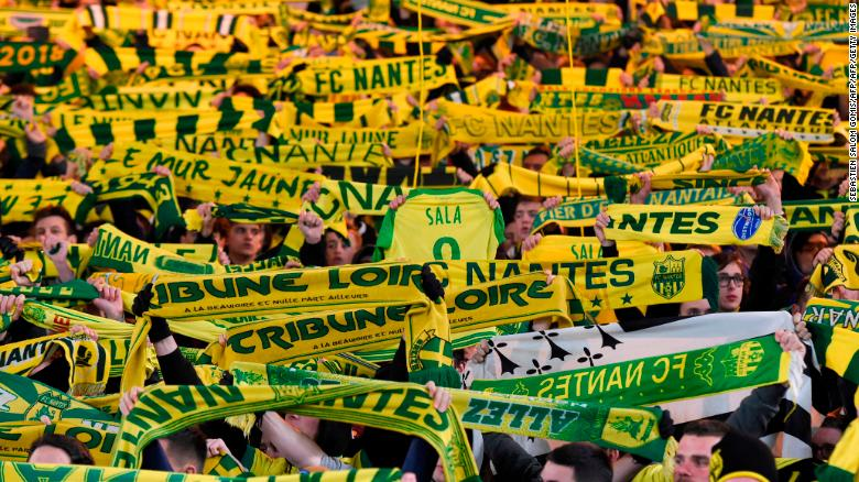 Nantes supporters hold up scarves during the Ligue 1 match.