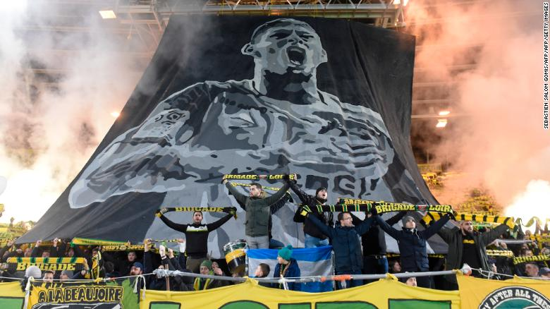 Nantes fans pay tribute to Sala during the Ligue 1 match between FC Nantes and AS Saint Etienne