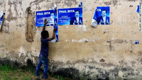 "An election posters for Cameroonian President Paul Biya in Yaounde in November 2018 reiterates he has ""the force of experience"" on his side."