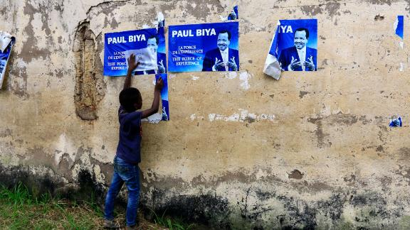 """An election posters for Cameroonian President Paul Biya in Yaounde in November 2018 reiterates he has """"the force of experience"""" on his side."""