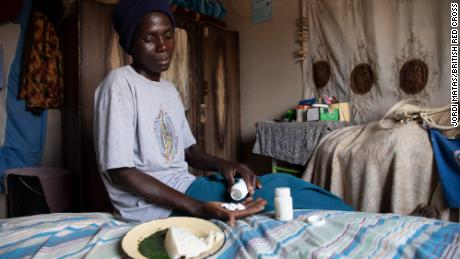 Tarisai Mubhoyi with her HIV medication at her home in Neshuro.