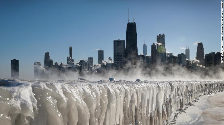 Ice covers the Lake Michigan shoreline on January 30 in Chicago as the city copes with record-setting low temperatures.