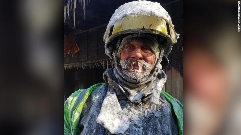 Firefighters battle fire and ice in bitter cold