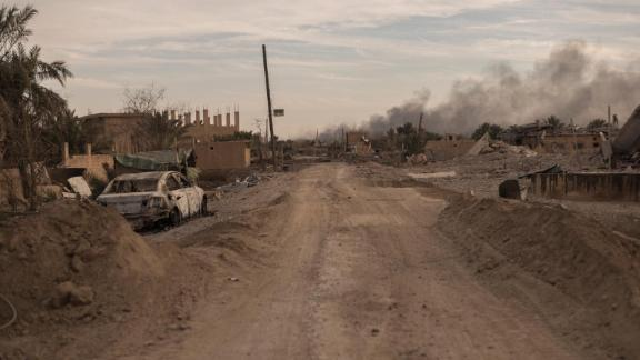 Mortars fire from the Syrian village of Susa towards Marashida, the next town to be liberated, on January 18.