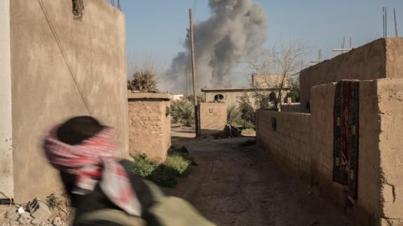 Jan 22 2019 US jets hitting Isis positions on the front line of Marashida during SDF operation to liberate the town from isis